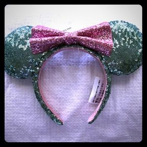 Mint green and pink sequenced Minnie Ears
